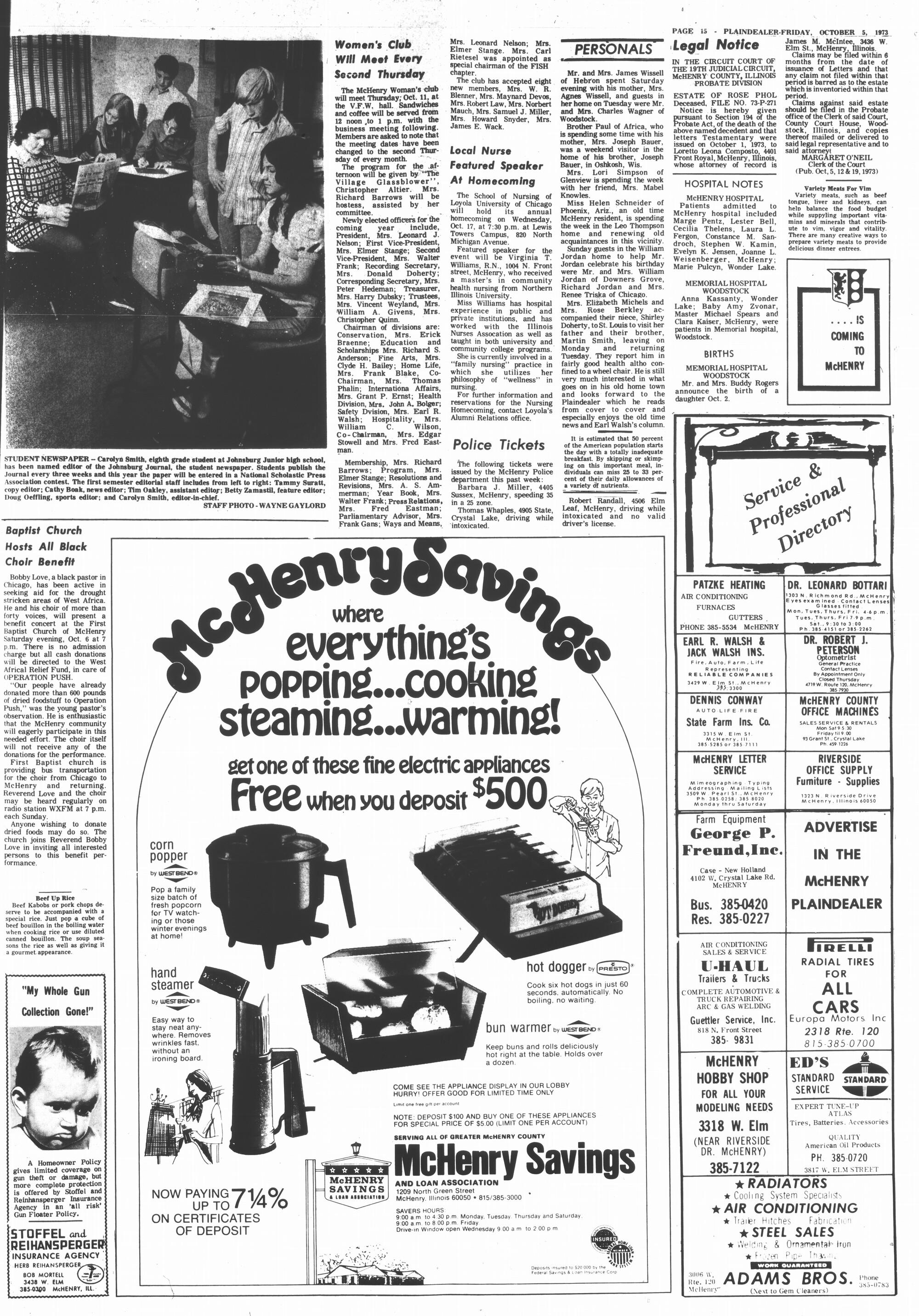 McHenry Plaindealer (McHenry, IL), 5 Oct 1973