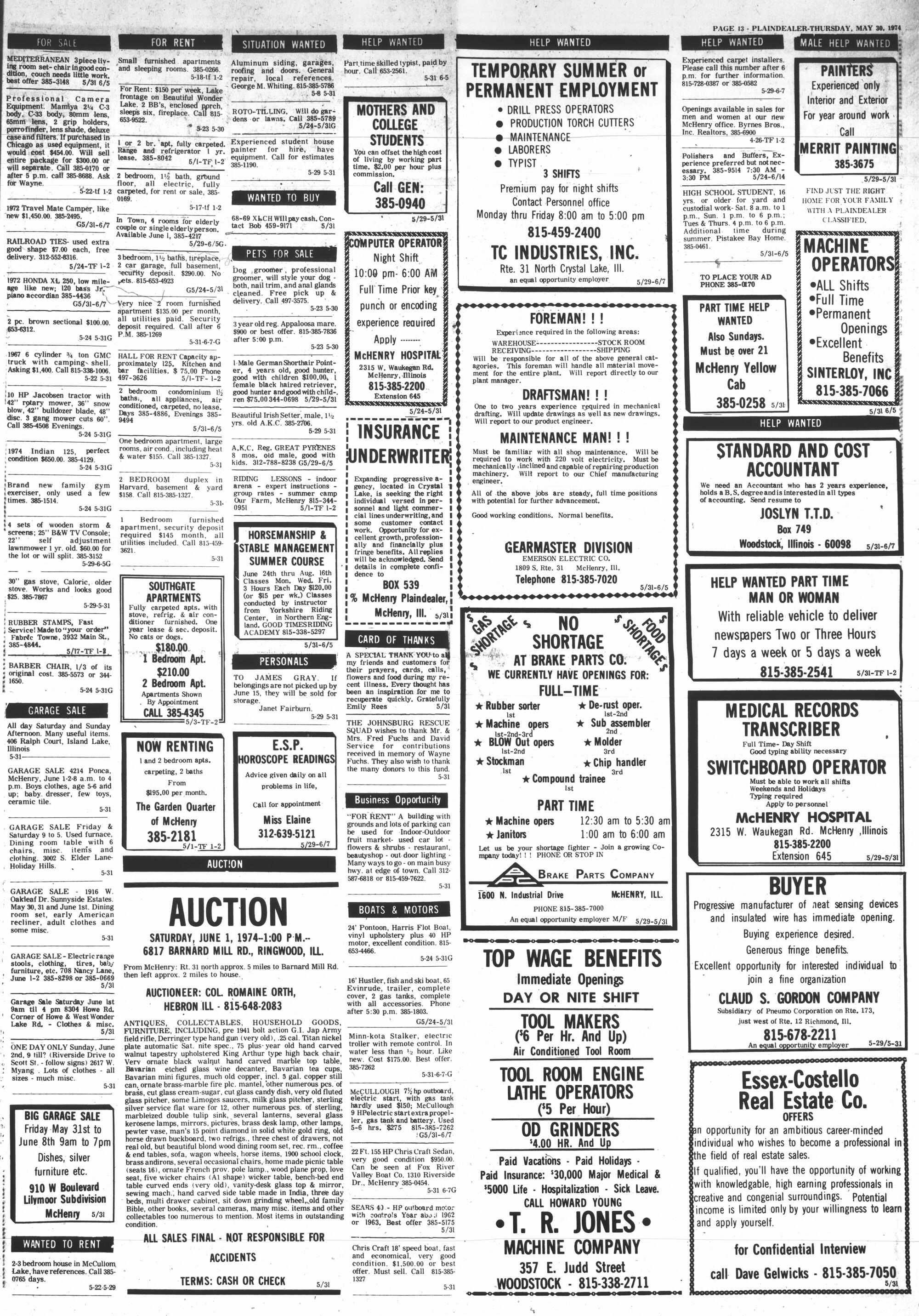 McHenry Plaindealer (McHenry, IL), 30 May 1974
