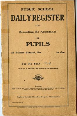 Registre de présence d'école publique  / Public school attendance register