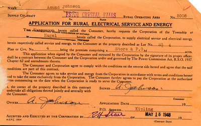 Application for rural electrical service and energy