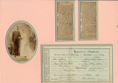 Annie Barbara Best and John Arthur's Wedding Photograph, Marriage Certificate and Newspaper Clippings