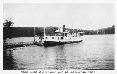 The Steamer 'Armour' at Young's Wharf, Ahmic Lake, Near Magnetawan, circa 1920
