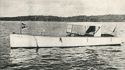 Motorboat Sitting on Lake, circa 1920