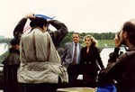 Richard Crenna and Helen Shaver filming the CBS movie of the week Wallflower at Niagara Falls