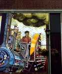 Welland mural depicting a steam powered tractor