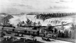 Canada Southern Railway train and cars, American & Horseshoe Falls in background