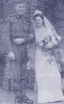 Wedding of Gunner Milford? M R Woodruff and his bride Patricia Price in Seldon, Surrey, England
