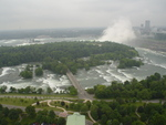 Aerial View of Goat Island, Niagara River Rapids, and Both Falls