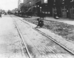 Inspecting the train tracks on St Paul Street in downtown St Catharines