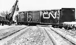 C.N.R. Train Derailment Wreck, Workers Rerailing Cars