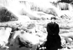 Ernest Fox - Self Portrait, sitting at base of Ice covered American Falls