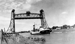 Welland Ship Canal - Britain Lube Ship Passing Under Lift Bridge in Allanburg, Ontario