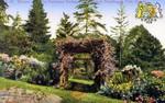 Glimpse of an old fashioned garden Queen Victoria Park Niagara Falls Canada