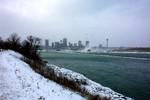 Niagara Falls (Ont.) skyline in winter from Chippawa