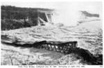 Fallsview [Falls View] Bridge, collapsed Jan. 27 1938, salvaging at right, Feb. 16th