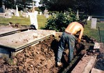 Holy Trinity Anglican Church Portage Road Chippawa - work in the cemetery on the Clark grave