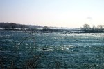 Low water in Niagara River above the Falls