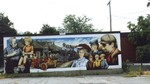 Welland East Main St - mural depicting the old days of railways and trains
