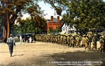 CEF [Canadian Expeditionary Force] returning from rifle range, Queen Street Niagara-on-the-Lake Canada