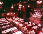 Lillie Langtry Theatre, Maple Leaf Village - set up for New Year's Eve, 1987