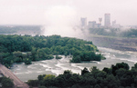 Aerial View of Goat Island and the Skyline of Niagara Falls, Ontario