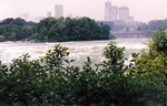 Skyline of Niagara Falls, Ontario, Brink of the American Falls and Upper Niagara River Rapids