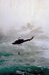 "Helicopter in front of the American Falls during filming of the Movie ""The Long Kiss Goodnight"""