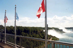 American and Horseshoe Falls from the International Boundary point on the Rainbow Bridge