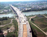 Aerial view of road repair on the Garden City Skyway St. Catharines Ontario