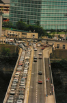 Aerial View of Traffic on the Rainbow Bridge
