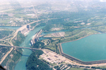 Aerial View of the Queenston Reservoir, Robert Moses Power Plant, and the Lower Niagara River
