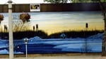 Welland mural depicting a winter scene on the Welland Ship Canal and lock bridges