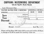 Chippawa Waterworks Department - Water Rates Bill