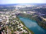 Aerial view of the lower Niagara River, Niagara Falls NY and Niagara Falls Ontario