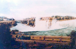 Train of the Canadian Southern Railway at Niagara Falls with the Horseshoe Falls in the background