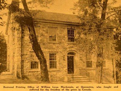 William Lyon Mackenzie Printing Office, Queenston, 1937-38.