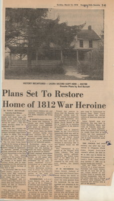 Plans set to restore home of 1812 War heroine