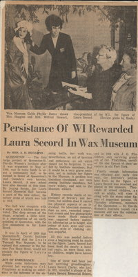 Persistance of WI rewarded. Laura Secord in wax museum.