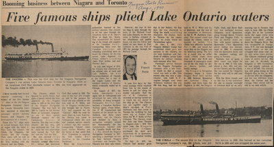 Five famous ships plied Lake Ontario waters