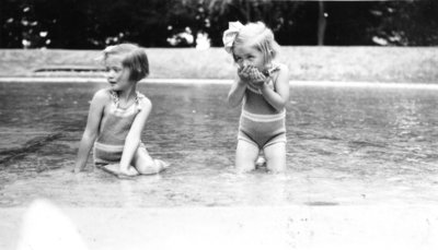 Betty & Ruth Huggins wading in pool in Fort Drummond, Queenston Heights Park. Not dated but probably in the early 1930s.
