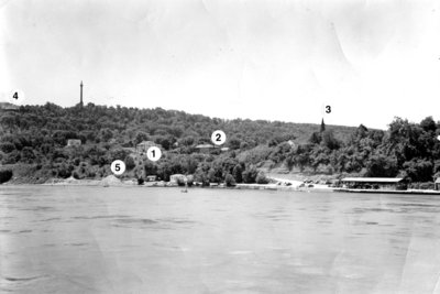 """A view of Queenston taken from S.S.""""Cayuga"""" in 1954"""