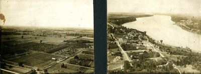 Photo taken from top of Brock's Monument of Village of Queenston, early 1900s