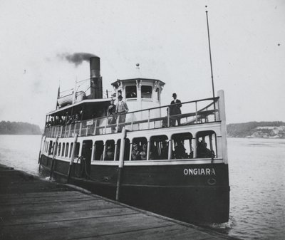 """Ferry boat """"Ongiara"""" at Queenston dock"""