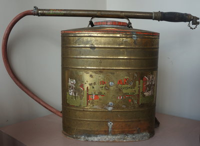 Antique Indian backpack fire extinguisher