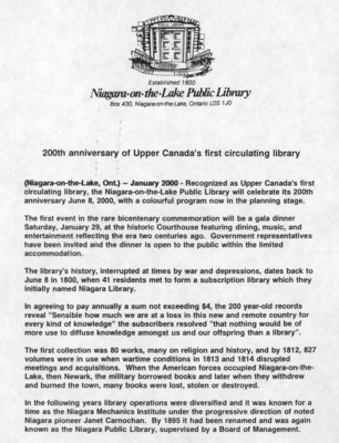200th anniversary of Upper Canada's first circulating library