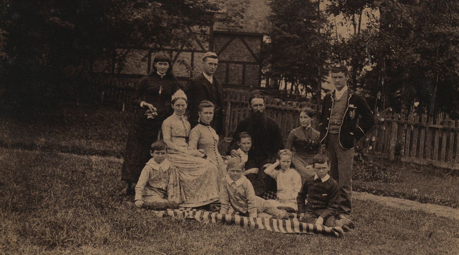 The Reverend E. F. Wilson and his family at Shingwauk mission