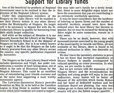 Support for Library funds