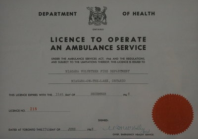 Licence to operate an ambulance service.
