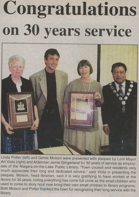Linda Potter and Gerda Molson - 30 years of service as employees of the Niagara-on-the-Lake Public Library