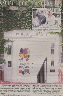 Once upon 200 years. NOTL celebrates 200th anniversary of the oldest library in Upper Canada